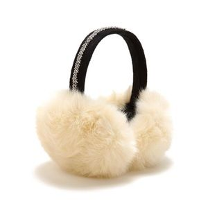 Accessories - • Ivory beaded faux fur ear muffs •