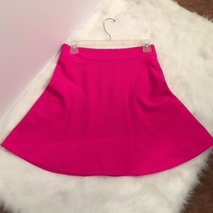 Hot pink express scuba fit and flare mini skirt