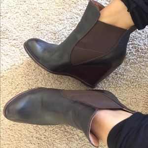 Black Leather Wedge Bootie