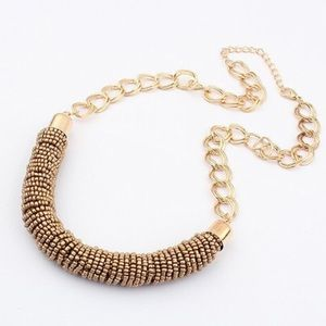 Beaded gold necklace beads chunky statement collar