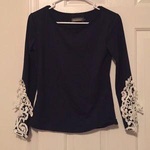 Tops - NWOT Navy lace sleeve long sleeve tee