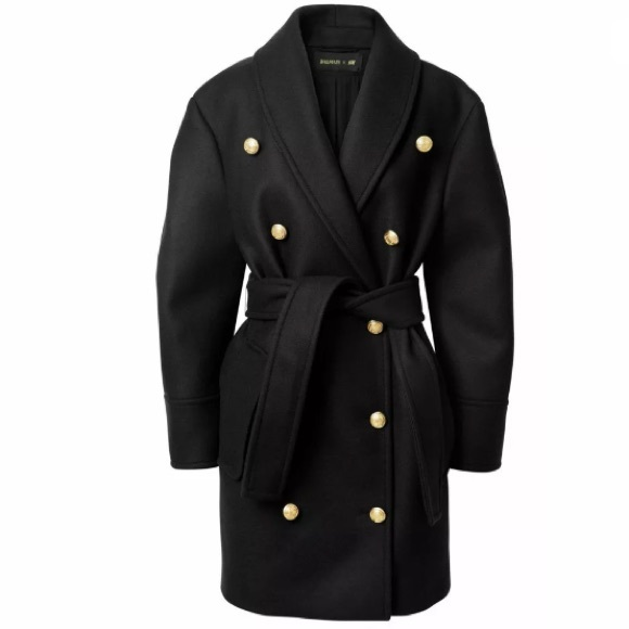 a29fa31b1a29d Balmain x H M Double Breasted Belted Wool Coat