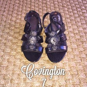 Covington Shoes - Covington Black Silver Detail Sling Back Heels 7