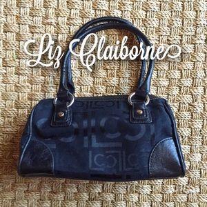 Liz Claiborne Handbags - Liz Claiborne Black Monogram Bowler Bag Small