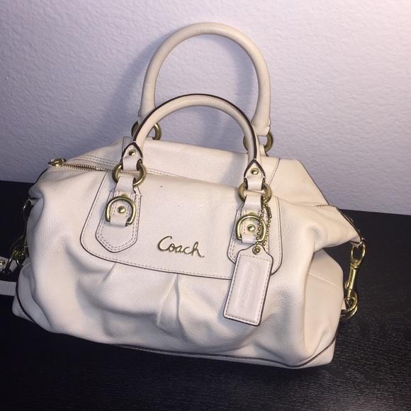 75% off Coach Handbags - Coach Leather 'Ashley' satchel (Cream ...