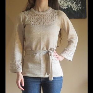 Sparkly Gold Crochet Top w/belt & flared sleeves