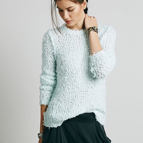 Free People - NWT Free People Mint Polar Bear Fuzzy Knit Sweater ...