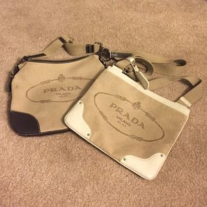 Prada messenger bags, leather and canvas