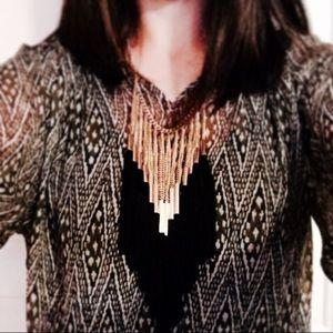 [H&M] Gold & Black Tassel Necklace
