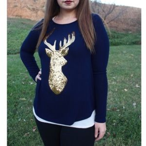 🍂Sale! Navy & Gold Sequin Deer Top