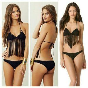 New indah marjan black crochet bikini bottom XS