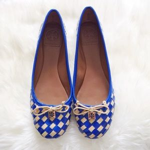 NEW Tory Burch Blue Prescot Woven Bow Ballet Flats