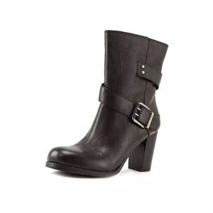 Nine West Cycloeno Black Leather Textured Boots