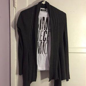 Grey long cardigan sweater
