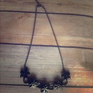 Black/Pewter Flower necklace