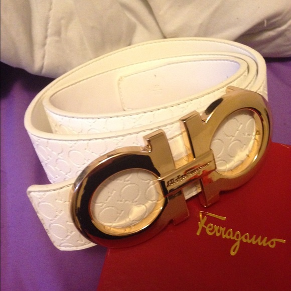 60% off Ferragamo Accessories - WHITE FERRAGAMO BELT from ...