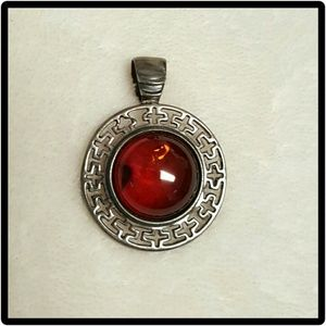 **SALE** Sterling silver amber pendant