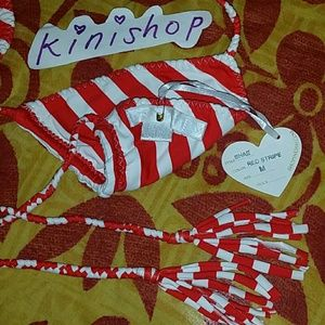 d55953c65a Indah Swim - New indah shae red   white stripes bikini top M