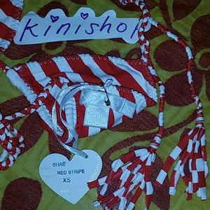 3083566072 Indah Swim - New indah shae red   white stripes bikini top XS