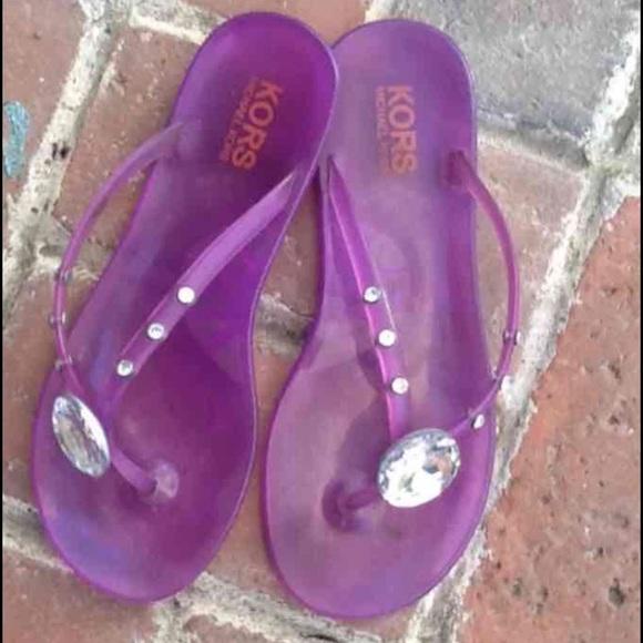 Auth M Kors Purple Flip Flops With