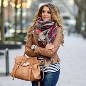 Accessories - Blanket scarf plaid red green tan