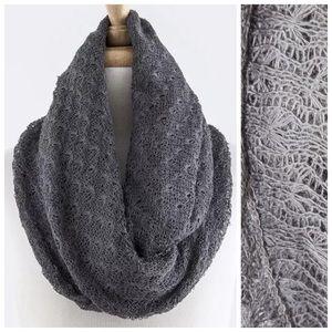 B149 Crochet Charcoal Gray Infinity Scarf