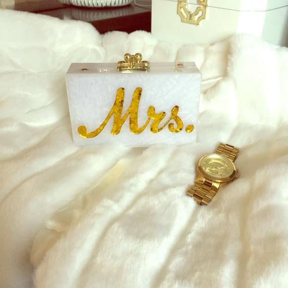 reducededie parker inspired mrs wedding clutch