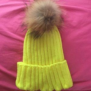 Neon yellow Pomp beanie