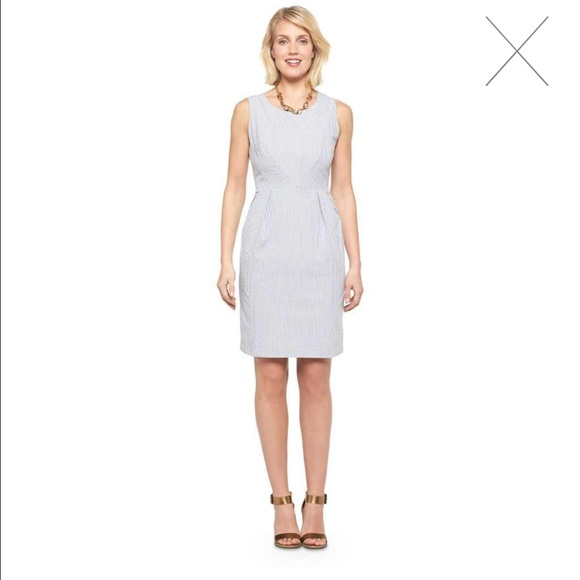 Merona Dresses Womens Seersucker Dress White Gray 18 Poshmark