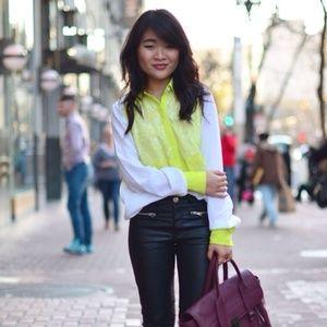 Prabal Gurung Target Neon Yellow White Lace Blouse