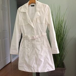 United Colors Of Benetton Jackets & Blazers - Benetton white fluted trench coat