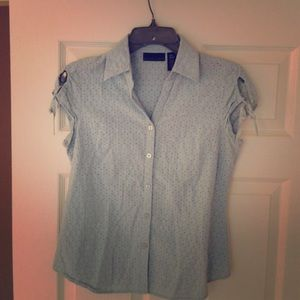 ICY BLUE blouse with beautiful shoulder detail