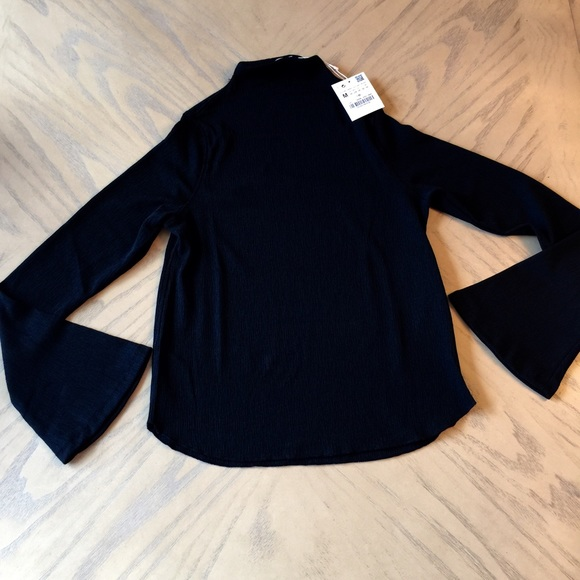 5f55bb3c5ac8ce Zara Tops   Black High Neck Top With Bell Sleeve   Poshmark