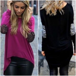 Tops - black silver sparkle elbow patch long sleeve tee