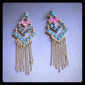 Boho fringe earrings in pink, blue & teal