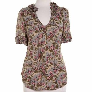 {anthro} odille green floral ruffle top