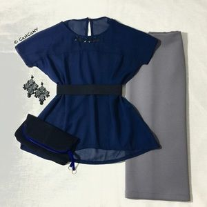 Tops - NEW Navy Blue Chiffon Loose Fit Blouse Top