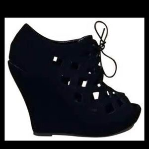 Black Nubuck Cut Out Peep Toe Wedges