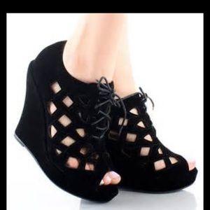 Delicacy Shoes - Black Nubuck Cut Out Peep Toe Wedges