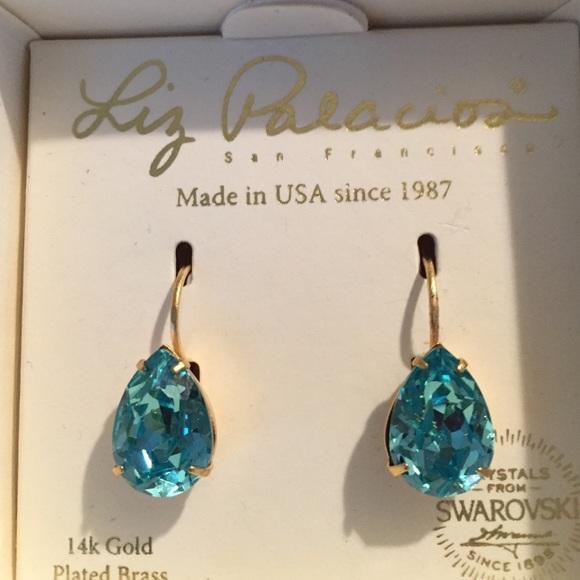 4bbc610563175 Liz Palacios Swarovski crystal teardrop earrings Boutique