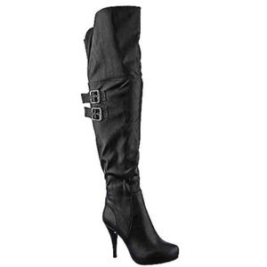 Grey Thigh High Stiletto Boots NIB