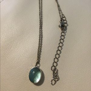LAST ONE NEW Oval grass necklace light blue