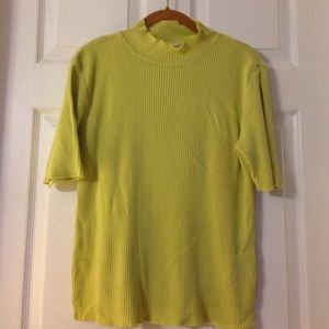 Rib knit lime green short sleeve sweater