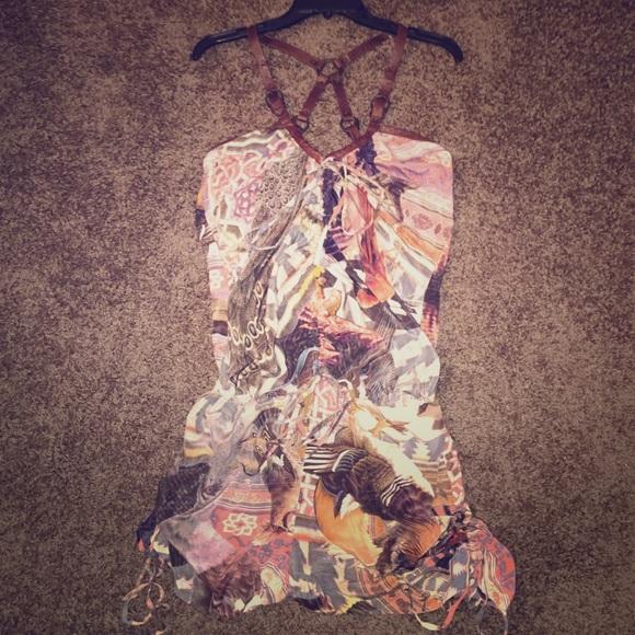 af173aa33c4 AllSaints Suzetta Silk Leather Harness Playsuit