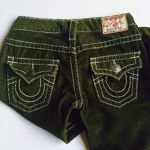True Religion Pants - True Religion Dark Green Flare Corded Pants 24