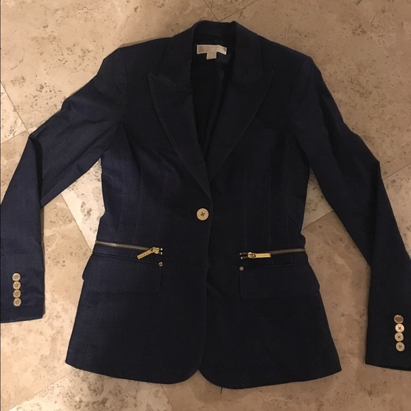 28ab440d4d32 Michael Kors Jackets & Coats   Womens Jacket Blue Wgold Buttons ...