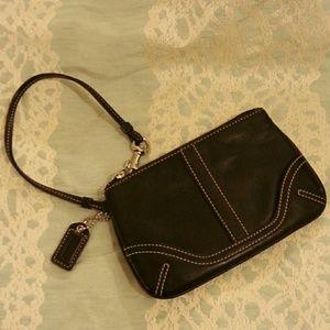 Coach Mini Wristlet Authentic Black Leather