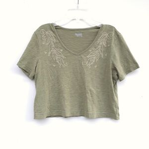 c42001e6835a0e Basic Editions Tops - Light Olive Green Crop Top