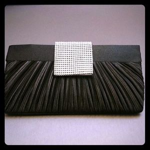 Classy black & silver studded evening clutch purse
