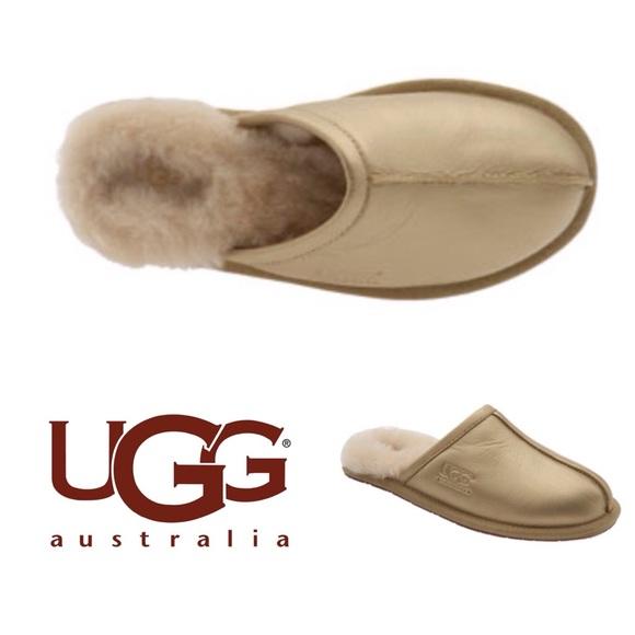 UGG Pearle Metallic Blush Gold Slippers 2dd7a68e0